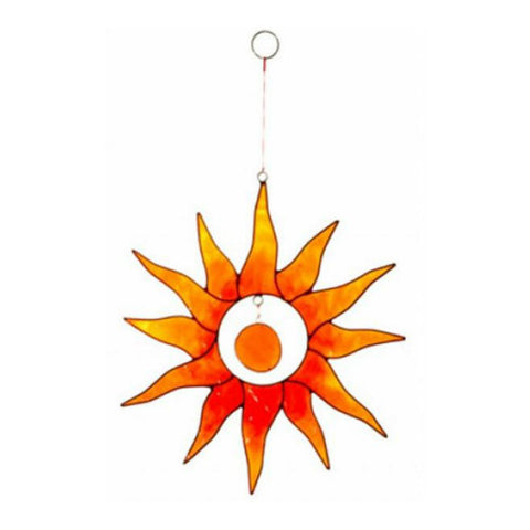 Orange Sunburst Suncatcher with Glass Bead from Bali