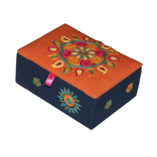 Orange and Navy Embroidered Jewellery Box Fair Trade