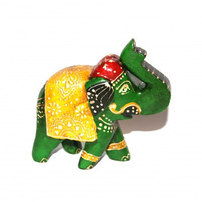 Wooden Painted Green Elephant Ornament