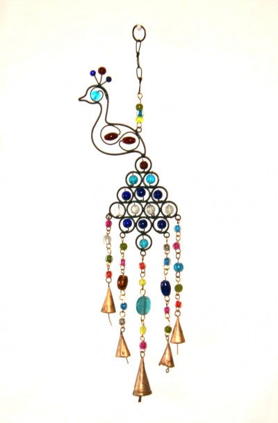 Peacock Hanging Chime with Beads and Bells