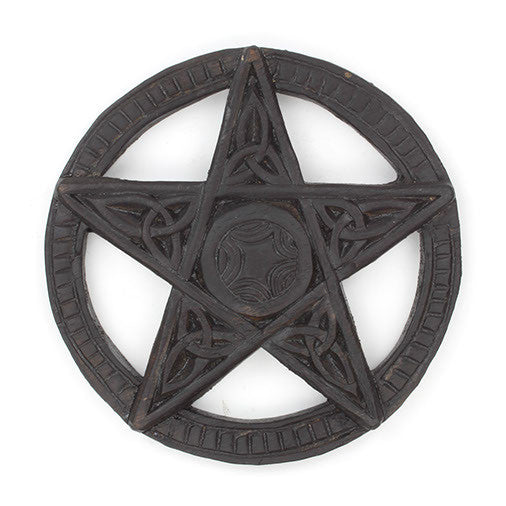 Pentacle Wooden Wall Plaque Hand Carved Fair Trade