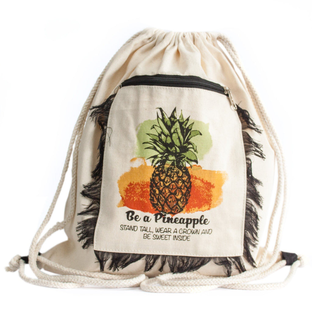 Cotton Fringed Backpack Pineapple Design Ethical Fashion