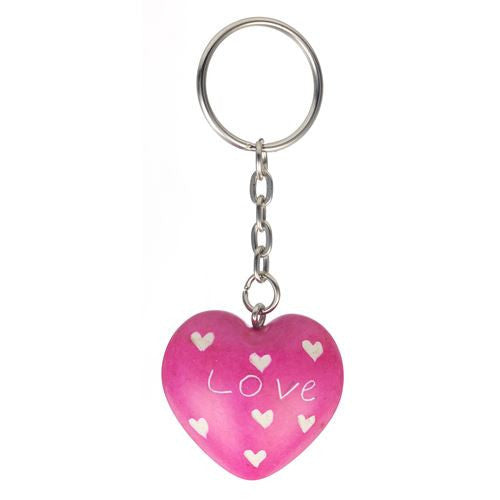 Pretty Pink Heart Soapstone Love Keyring Valentines Day Gifts