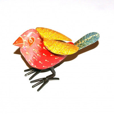 Pink Yellow Painted iron Bird Ornaments Fair trade Home