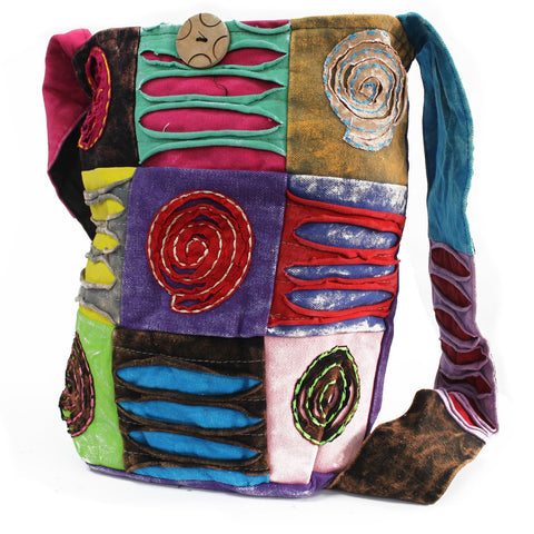 Purple Spiral Cotton Sling Bag Handmade in India