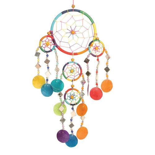 Rainbow Capiz Dreamcatcher