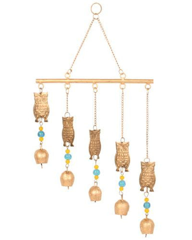 Recycled Brass Owl Bell Chimes Fair Trade from India