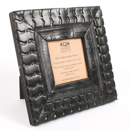 Recycled Tyre Square Picture Photo Frame Fair Trade from India