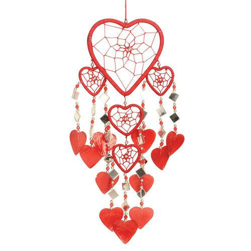 Red Heart Dreamcatcher with Capiz Shell made in Indonesia