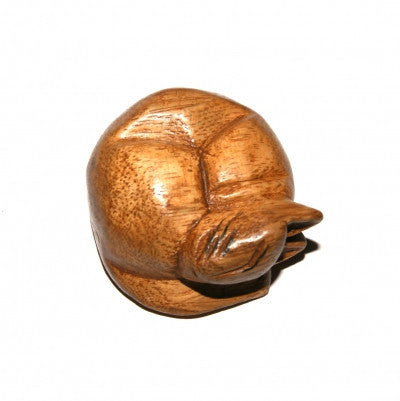 Sleeping Curled Up Cat Acacia Wood Ornament Fair Trade from Thailand