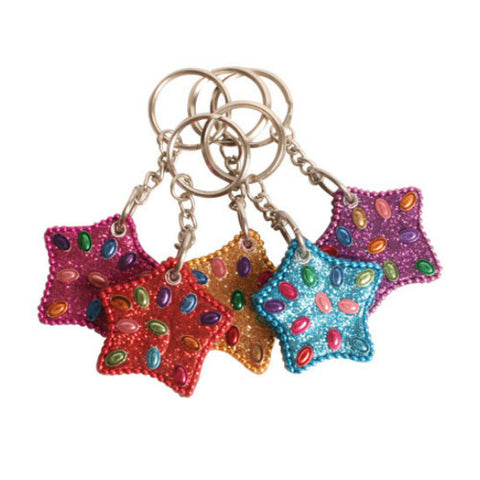 Star Glitter Lac Keyrings Fair Trade from India