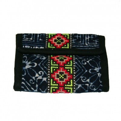 Thailand Hill Tribe Wallet Dark Blue front Fair Trade
