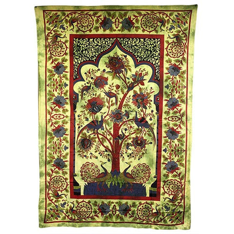 Tree of Life Green Cotton Bedspread Wall Art from India