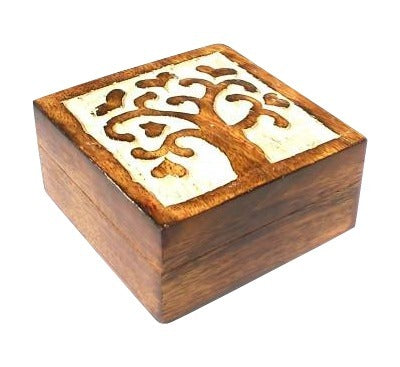 Tree of Love Painted Mango Wood Box Fair Trade from India Wooden Boxes