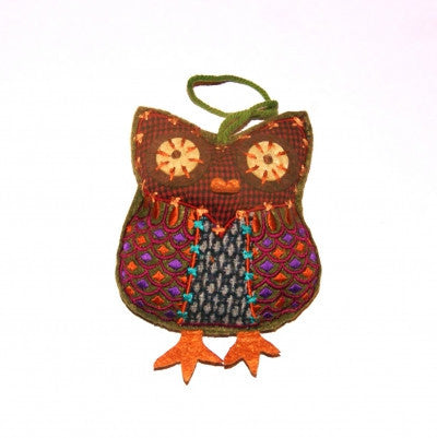 Tweed Owl Embroidered Home Accessories Fair Trade from India