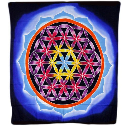 Flower of Life and Love Wax Batik Wall Hanging from Indonesia