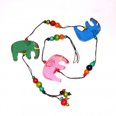Wooden Elephants String with Beads Hanging Decoration Fair Trade