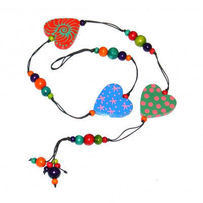 Wooden Hearts and Beads Hanging Decoration Fair Trade