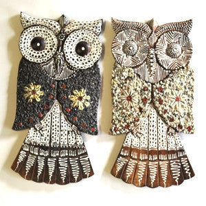 Shell and Stone Owl Wall Plaques