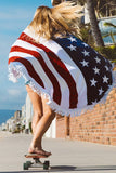 American Flag Beach Throw