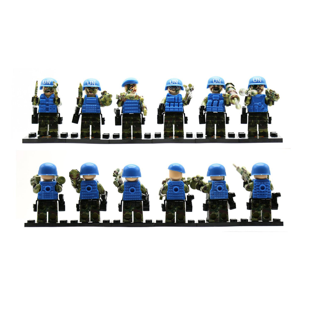The United Nations (UN) Peacekeeping troop mini-figure in forest battlefield building blocks with weapons and armors 6 Pcs