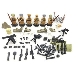 World War II Soviet guards mini figures with the Weapons and Ski Warfare 6 pieces