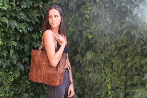 [Leather tote gypsy bag gypsy bohemian style bag or handbag]- The Namaste Boutique