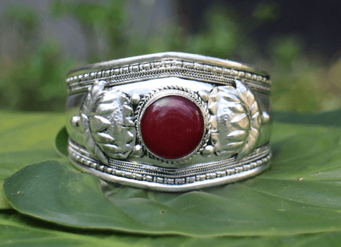[Red onyx boho adjustable metal cuff gypsy bohemian style jewelry or jewellery]- The Namaste Boutique