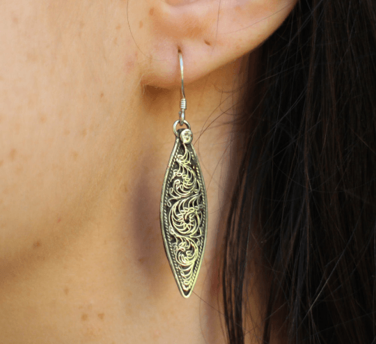 [Sterling silver filigree drop style earrings gypsy bohemian style jewelry or jewellery]- The Namaste Boutique