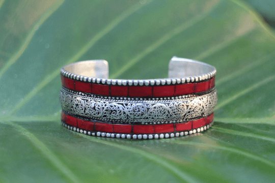 [Red boho adjustable cuff gypsy bohemian style jewelry or jewellery]- The Namaste Boutique