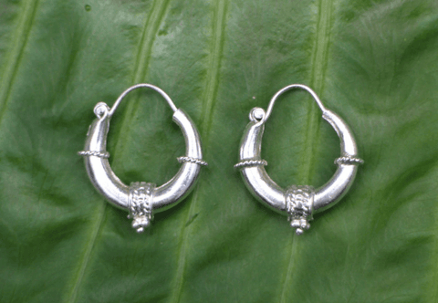 [Sterling silver hoop earrings]- The  gypsy bohemian style jewelry or jewellery] - Namaste Boutique