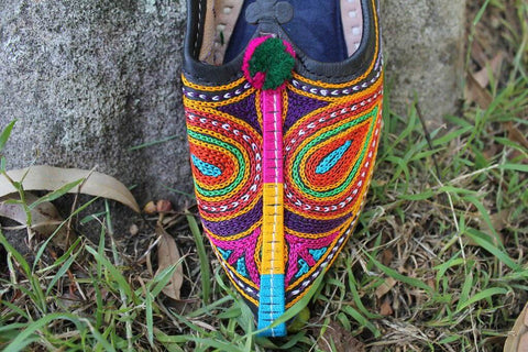 [Cotton leather colourful gypsy shoes indian style bohemian shoes]- The Namaste Boutique