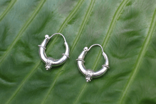 [Sterling silver hoop earrings gypsy bohemian style jewelry or jewellery] - Namaste Boutique