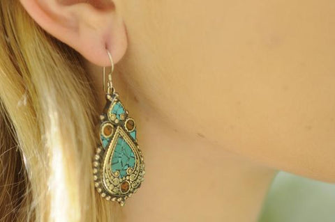[Handmade bohemian turquoise and coral earrings gypsy bohemian style jewelry or jewellery]- The Namaste Boutique