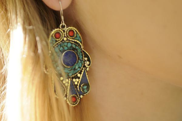 [Handmade bohemian lapis lazuli earrings gypsy bohemian style jewelry or jewellery]- The Namaste Boutique