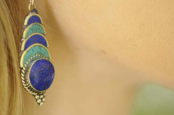 [Handmade bohemian  lapis lazuli and turquoise earrings gypsy bohemian style jewelry or jewellery]- The Namaste Boutique