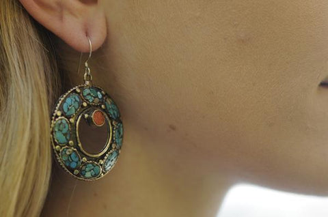 [Handmade bohemian turquoise earrings gypsy bohemian style jewelry or jewellery]- The Namaste Boutique
