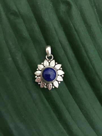 Sterling silver lapis lazuli gemstone pendant with black string