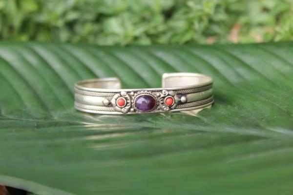 [Amethyst metal stone adjustable cuff Gypsy bohemian style jewelry or jewellery]- The Namaste Boutique