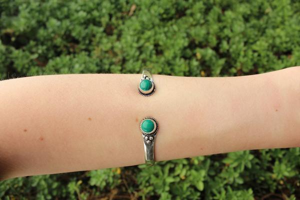 [Malachite metal stone adjustable cuff Gypsy bohemian style jewelry or jewellery]- The Namaste Boutique
