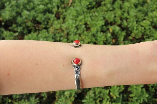 [Red metal stone adjustable cuff gypsy bohemian style jewelry or jewellery]- The Namaste Boutique