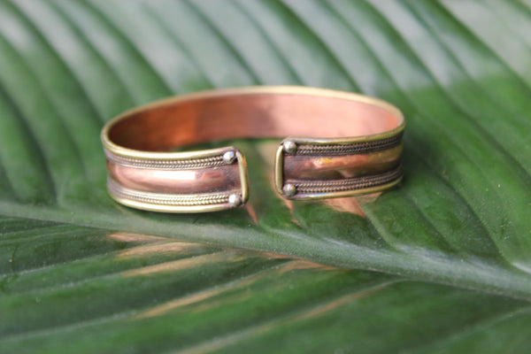 [Copper & brass mantra adjustable cuff Gypsy bohemian style jewelry or jewellery]- The Namaste Boutique