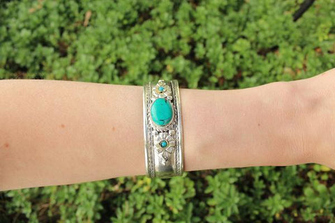 [Bohemian turquoise adjustable cuff gypsy bohemian style jewelry or jewellery]- The Namaste Boutique
