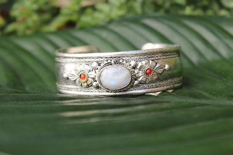 [Bohemian moonstone adjustable cuff gypsy bohemian style jewelry or jewellery]- The Namaste Boutique