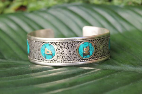 [Turquoise hindu filigree adjustable cuff gypsy bohemian style jewelry or jewellery]- The Namaste Boutique