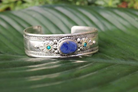 [Bohemian lapis lazuli adjustable cuff gypsy bohemian style jewelry or jewellery]- The Namaste Boutique