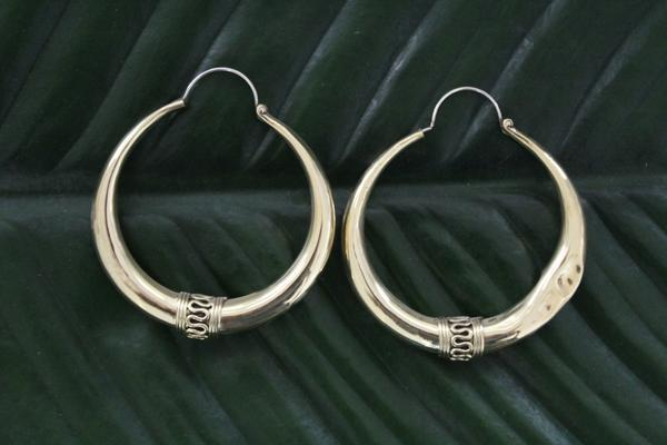 [Large brass hoop earrings gypsy bohemian style jewelry or jewellery]- The Namaste Boutique