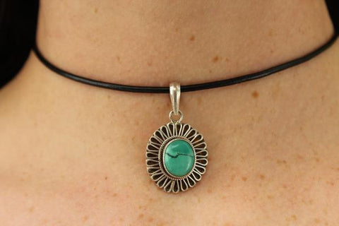 [Sterling silver turquoise gemstone pendant with black string gypsy bohemian style jewelry or jewellery]- The Namaste Boutique