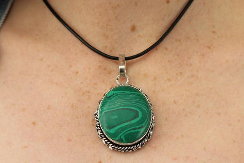 [Metal malachite gemstone pendant with black string gypsy bohemian style jewelry or jewellery]- The Namaste Boutique