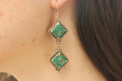 [Handmade bohemian drop style, turquoise earrings gypsy bohemian style jewelry or jewellery]- The Namaste Boutique